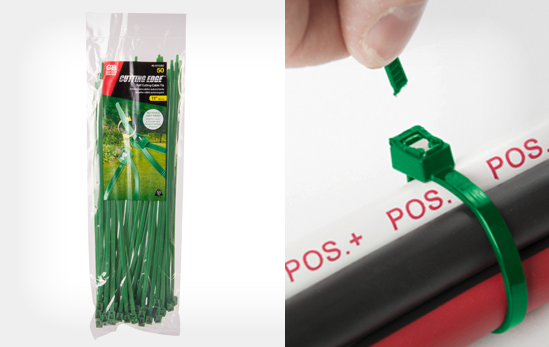 11' Self Cutting Green Cable Tie 50 lb. Tensile Strength