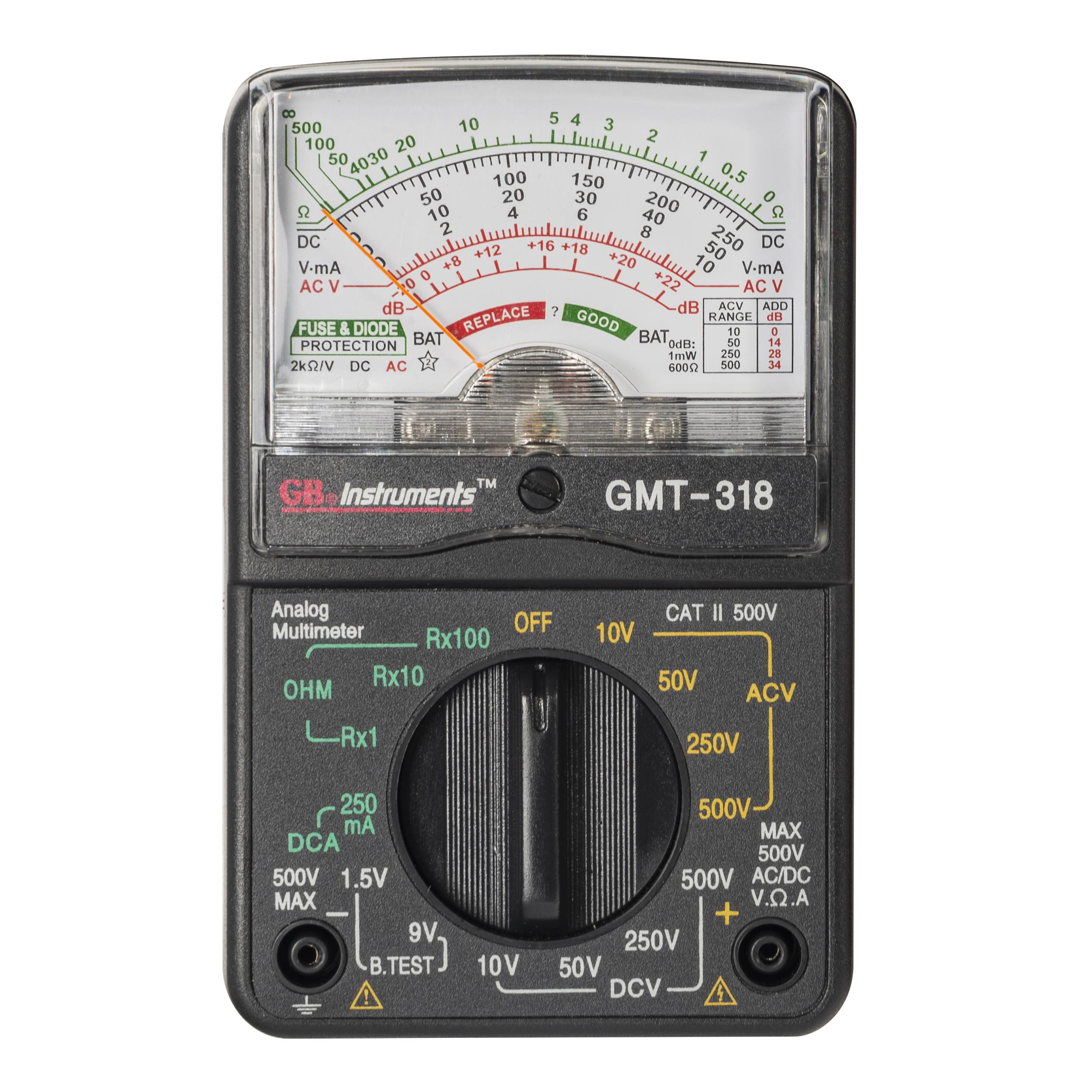 Gardner Bender GMT-318 Analog Multimeter, 6 Funct, 14 Range, Tests